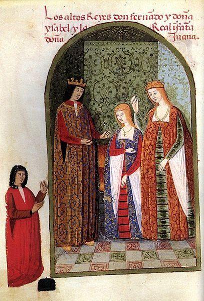 """Isabella and Ferdinand with their daughter, Joanna, c. 1482. Image from """"Rimado de la conquista de Granada"""", by Pedro Marcuello."""