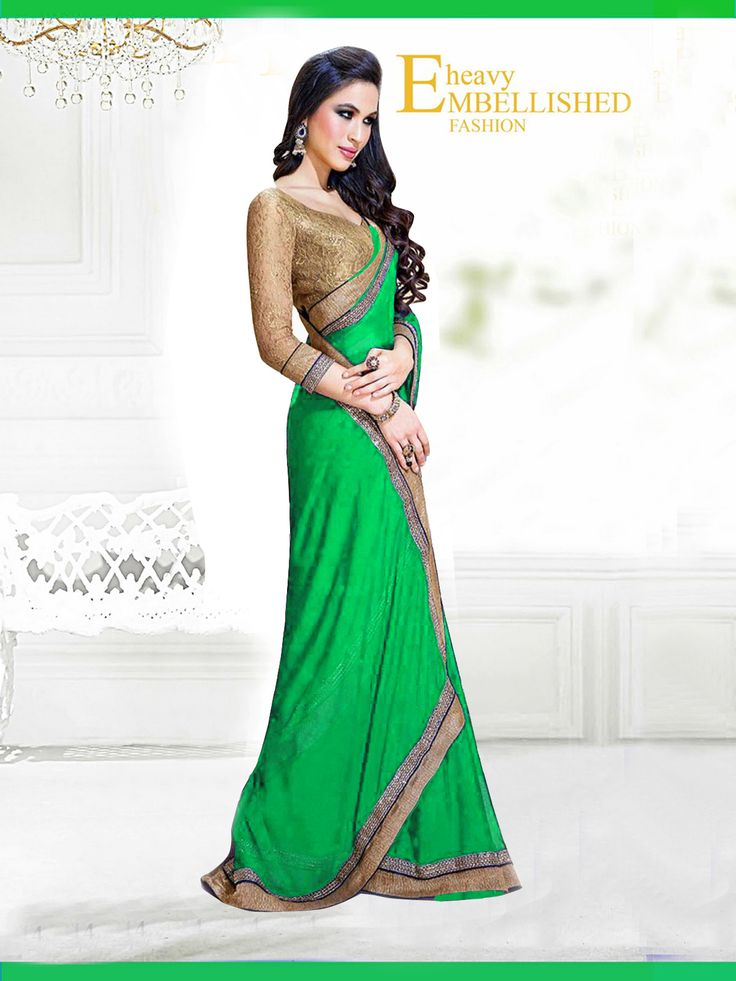 Fabric/Material:- #Saree : Dhupian|Blouse: #Chiffon | Pattern: #Printed Color: #Green Size : Saree: 5.50Mtr. | Blouse: .80Mtr. | Price: 615/- #SuratTex
