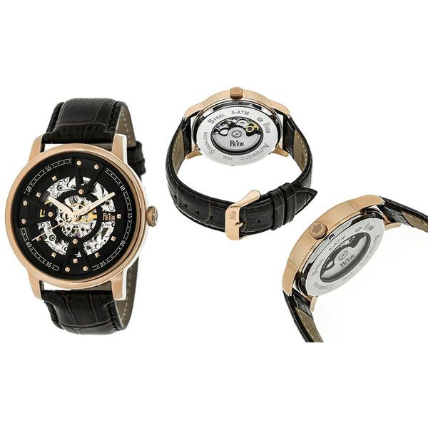 Men's Reign Mens Watches Belfour Automatic Collections Black Strap... ($299) ❤ liked on Polyvore featuring men's fashion, men's jewelry, men's watches, brown, jewelry & watches, mens skeleton watches, mens black face watches, engraved mens watches and mens rose gold watches