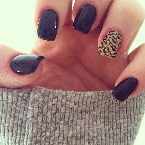 Fall nail art. I like the idea of one different nail.