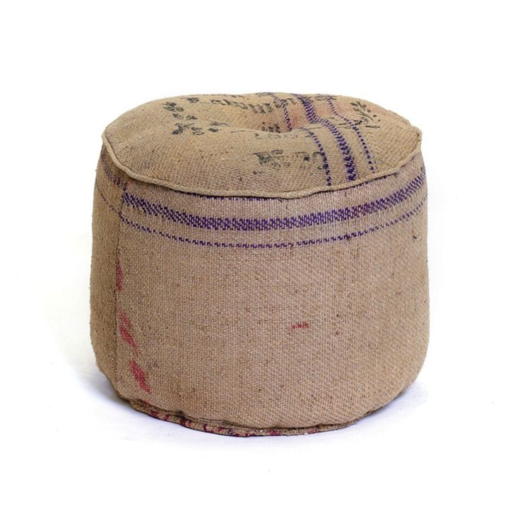 burlap floor pouf - need to diy this with coffee bean sacks