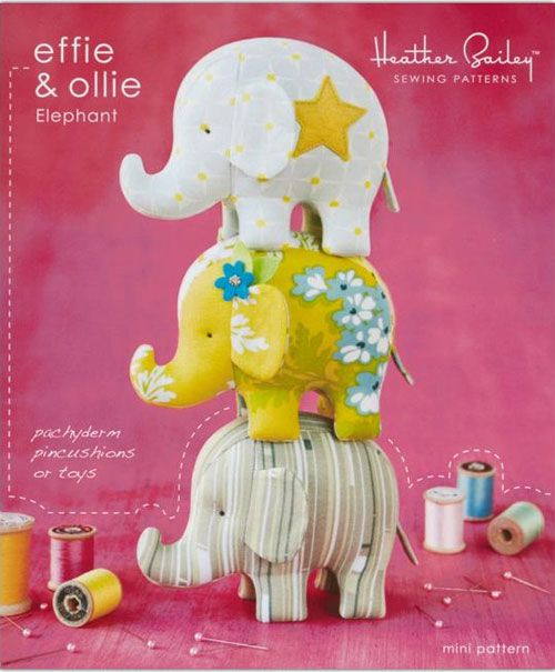 These cute elephants are fun and easy to sew either as a soft toy for your little one, or a handy pincushion for your sewing room. Make one or two, or make