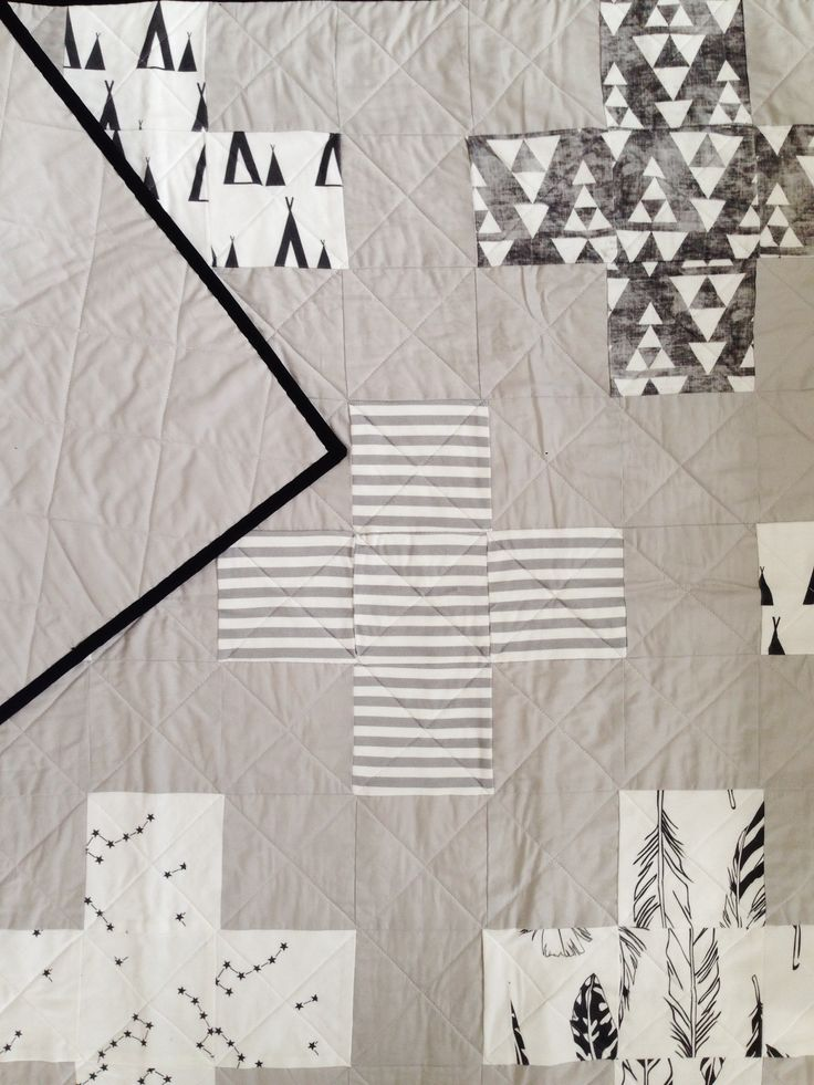 """a collaboration with www.lwphsews.com  this beautiful modern quilt is made up with plus signs from our exclusive Miss j. fabrics across the top and a one color grey on the back, hand bound in true black for a perfectly clean edge.  measuring at 40""""x 48"""" handmade in the usa  machine or hand..."""