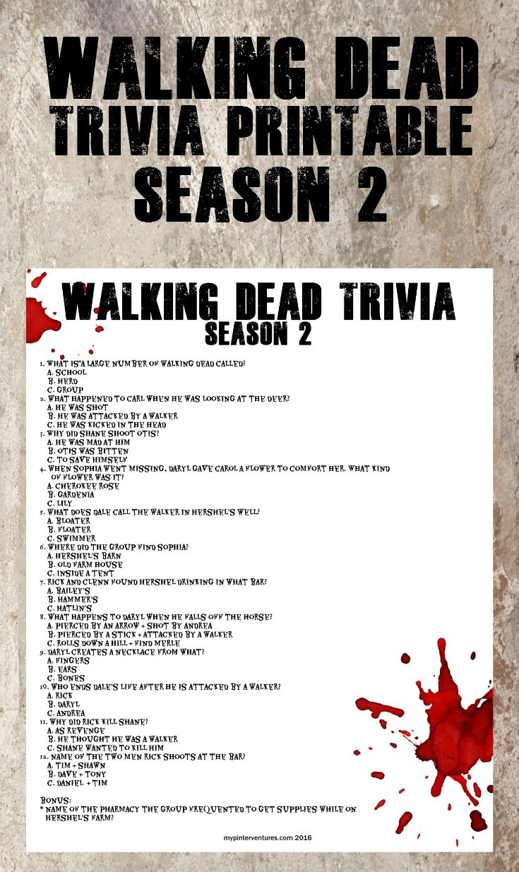 Walking Dead Trivia Printable - Season 2. How good is your memory? A fun Walking Dead printable - great for parties.