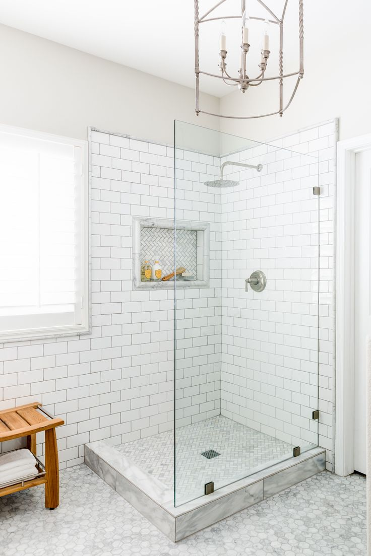 Lexi Westergard Design Vermont Remodel Master Bathroom Shower Marble Subway Tile