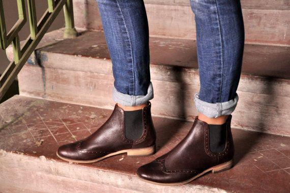 Chelsea - femmes bottines, bottes en cuir, Chelsea Boots, bottes marron, Style…