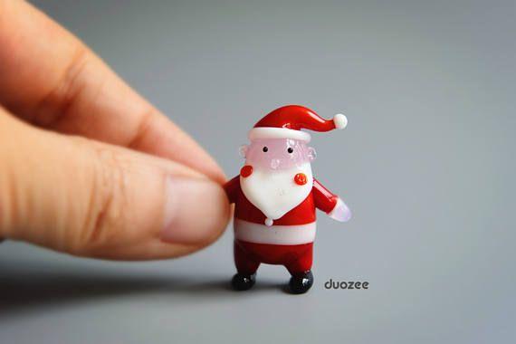 Handmade Lampwork Glass Miniature Santa Figurine Standing