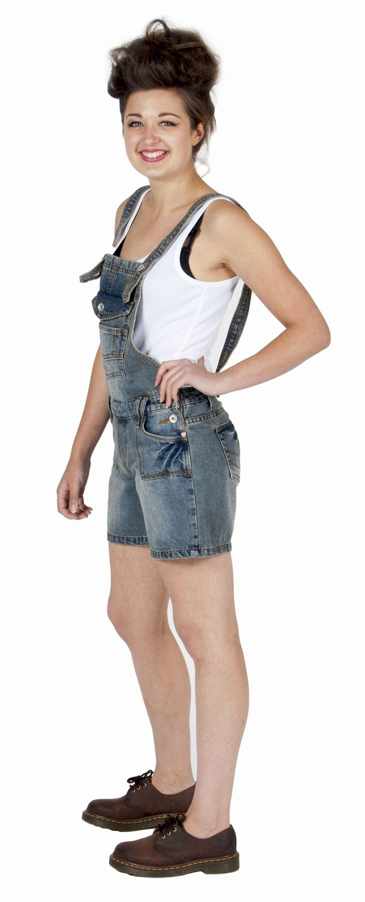 Womens - Dungaree Shorts - Pale Wash - Clearance - limited sizes £25. #dungarees #shortalls