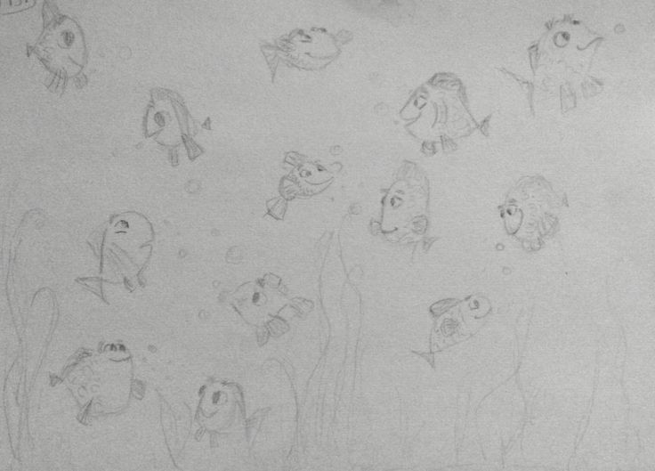 Pinterest inspired cute fish sketch/doodle. Pencil. Easy and fun;)
