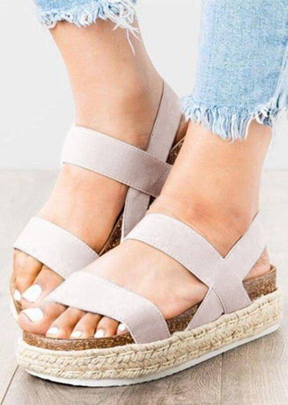 Solid Ankle Strap Platform Sandals