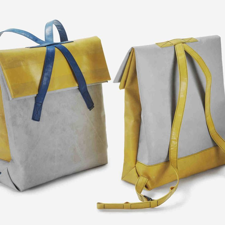 #Freitag #Backpack #Yellow #Gray #Blue #Fabric #TruckTarpaulins #Used
