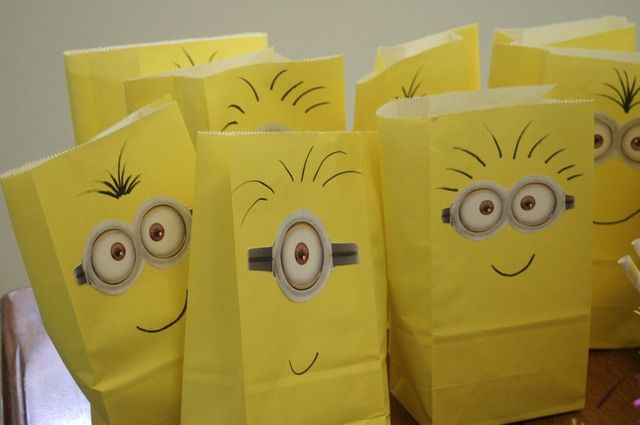 Favors at a Minion Despicable Me Party #despicableme #partyfavors. Or ... just do as smile faces with big google eyes. Yellow is such a happy way to cheer on a college kid!
