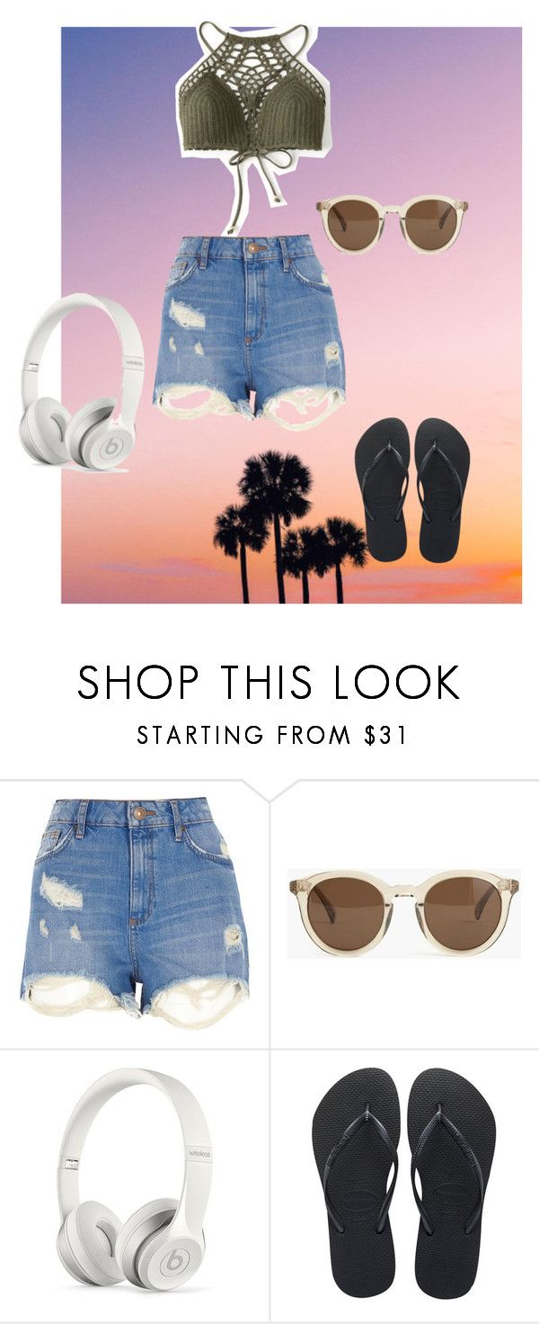 """""""summer please hurry!!"""" by burnettkorra ❤ liked on Polyvore featuring River Island, J.Crew, Beats by Dr. Dre and Havaianas"""