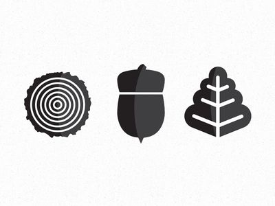 The Oaks icons by Winston Scully. Another possible motif: oak rings for history/time, acorn for repo/fork, leaf for commit, etc.