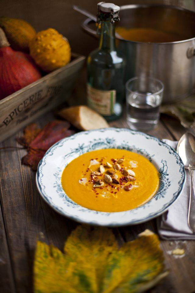 Roast Pumpkin, Coconut and Chilli Soup | DonalSkehan.com. Vegan option: Use non dairy butter.