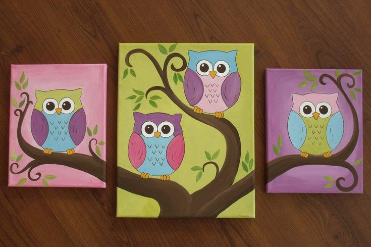 3 canvas set of owl paintings. $65.00, via Etsy.