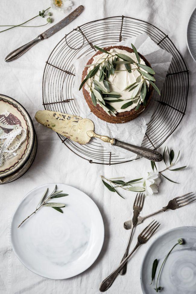 Apple cinnamon cake with meringue maple syrup cream. Beautiful, simple styling.