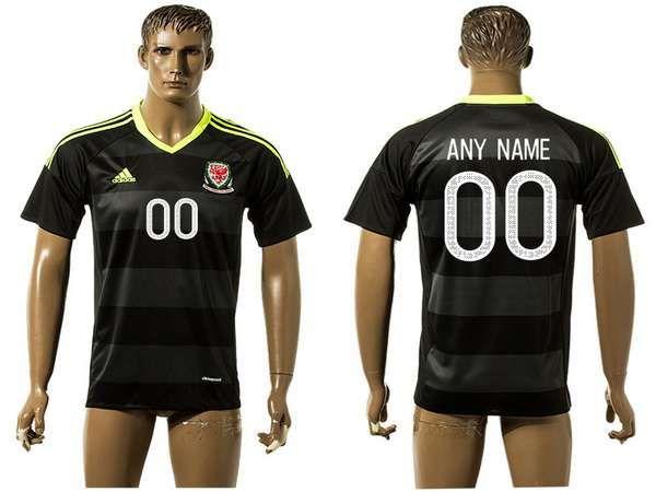 2016 european cup wales away custom black mens soccer a+ shirt