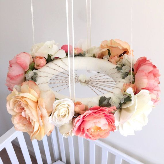 Whimsical coral & peach flower mobile floral crib by RosyRilli
