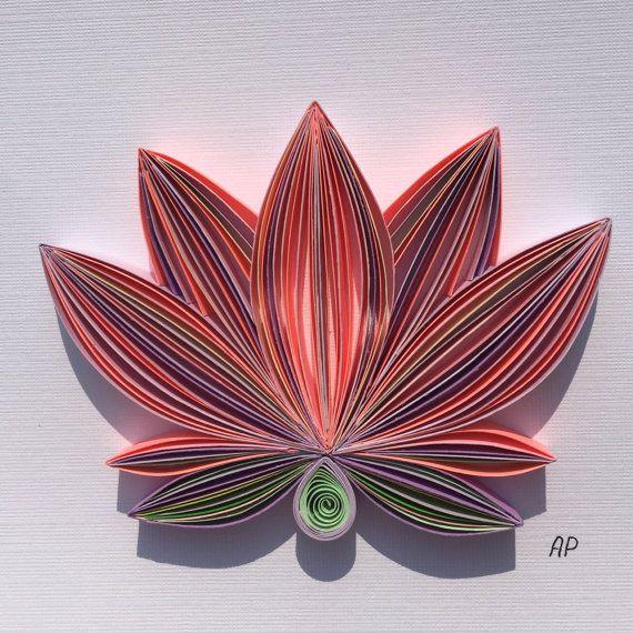 Unique Framed Quilled Paper Art: Tender Lotus / Lotus / Wall art / Paper Lotus…