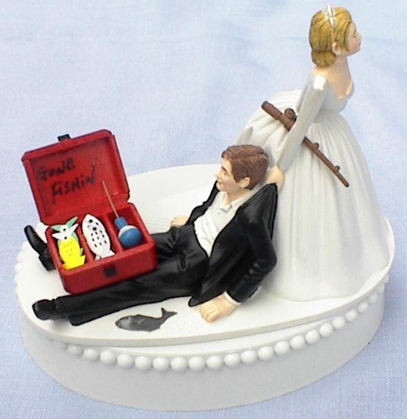Wedding Cake Topper Gone Fishin' Fishing Groom Fish Themed w/ Garter, Display Box. $59.99, via Etsy.