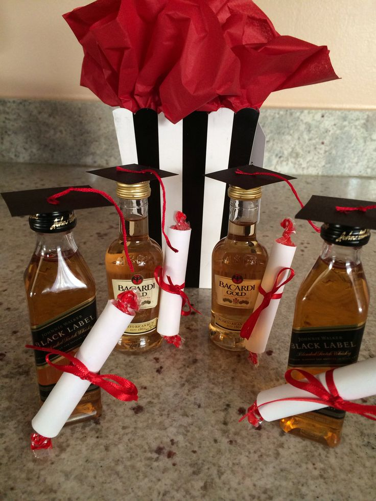 Graduation Party Favors (21& up) Supplies include: 1 sheet of black construction paper, a square to trace or a ruler, red string, a glue stick, double-sided tape for the cap and diploma, smarties (diplomas), white paper and red ribbon.