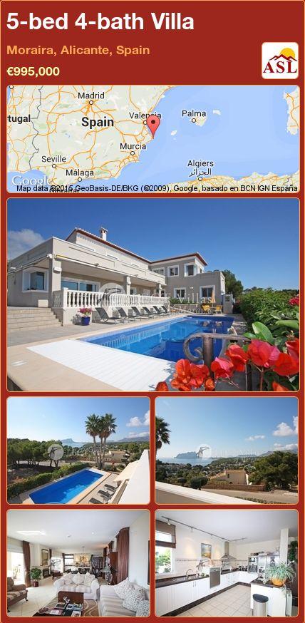 5-bed 4-bath Villa in Moraira, Alicante, Spain ►€995,000 #PropertyForSaleInSpain