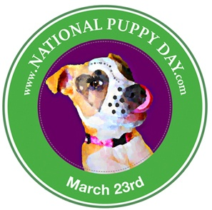 march 23--national puppy day  Puppppies!!! As if you need an excuse to observe some adorable young pups playing, today it is your nationally mandated duty. But if watching is not enough celebration for you, go to the official website to vote for America's Most Beautiful Puppy, consider donating to your local animal shelter, or just take the plunge and adopt one! It might be wise to first consult your partner, parent or roommate on that last option.