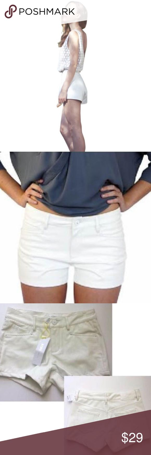 NWT White Vegan Leather Shorts BCBGENERATION Vegan White Leather Shorts  Retail Price: $98  NWT  Size: 26    Monochrome white hardware and soft leather like feel denim style shorts. Add a little flair to any tank top and short look with these white hot shorts, easy to dress up or dress down on a night on the town.    ** There is an imprint on the shorts as seen in the last photo. This was from the pants hanger when they were hung up in the store. Not noticeable when worn.** BCBGeneration…