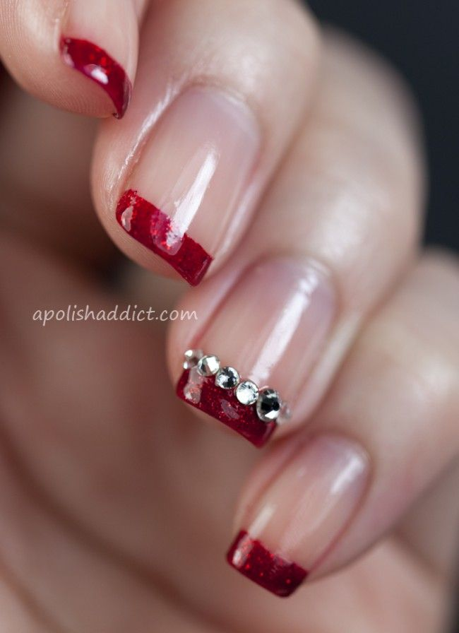 PHOTOS: Pretty Christmas Nail Art Ideas | Styleite.   I like it, but probably wo the glued on bling.... I mean, I wash dishes and do real work in the real world. ;p