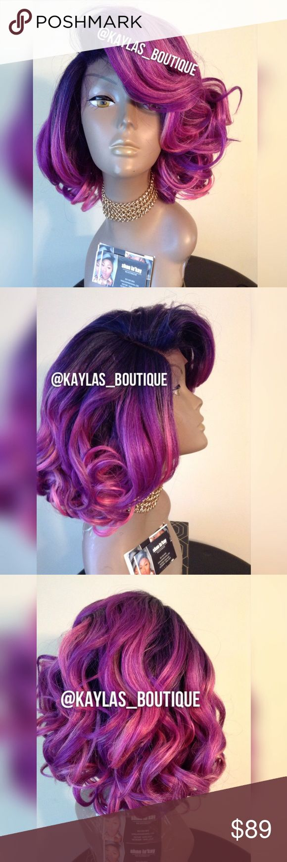 🦄💕💜GORGEOUS SWISS LACE FRONT WIG HUMAN HAIR BLEND GORGEOUS COLOR MIX TAKES HEAT & CAN BE WASHED IF YOUR SOMEONE WHO LOVES COLOR BE SURE TO GRAB HER PERFECT FOR B.DAYS ,MARDI GRAS & IF YOU JUST LOVE EXOTIC HAIR COLORS NO TANGLING NO MATTING BRAND NEW NO REFUNDS NO RETURNS NO EXCHANGES ALL SALES FINAL 🎁I DO NOT TRADE AT ALL #NEVER 🎁NOT ACCEPTING OFFERS 🎁NO HOLDS 🎁PRICE IS FIRM 👑ACTUAL PHOTOS OF MY PRODUCT & MY WORK NO SCREENSHOTS NO STOCK PHOTOS  📣I DO NOT TRADE📣  💌SHIPPING POLICY…