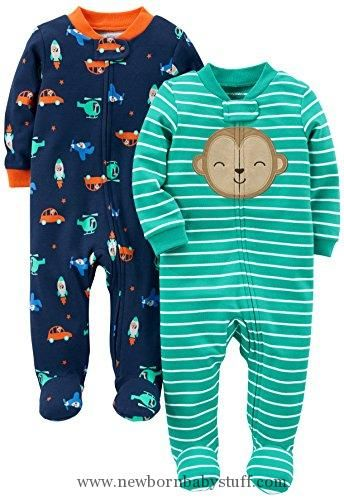 Baby Boy Clothes Simple Joys by Carter's Baby Boys' 2-Pack Cotton Footed Sleep and Play, Monkey/Vehicles, 0-3 Months
