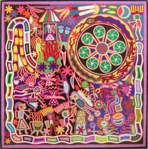 Mexican Folk Art -   look closely, you'll notice that this painting is created from yarn.