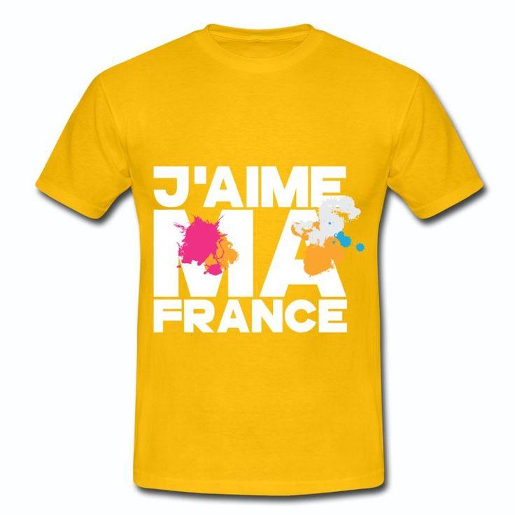 Tee Shirt Jaune France J'aime ma France