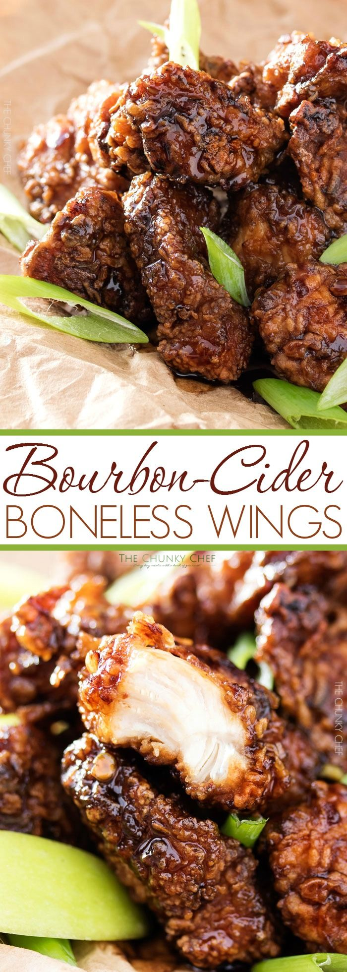 Bourbon Cider Boneless Wings | The ultimate boneless wings, marinated in buttermilk, fried until crispy, and tossed in a mouthwatering spicy bourbon apple cider sauce! | http://thechunkychef.com