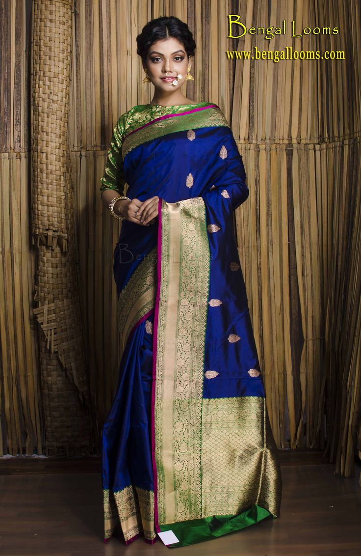 Pure Katan Banarasi Silk Saree in Dark Blue, Green and Gold