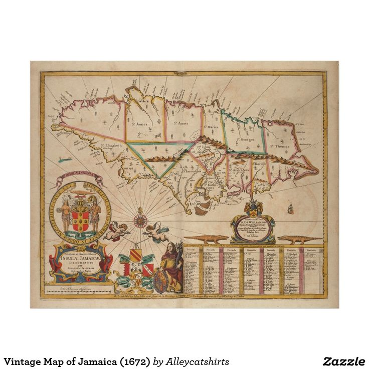 Vintage Map of Jamaica (1672) Poster