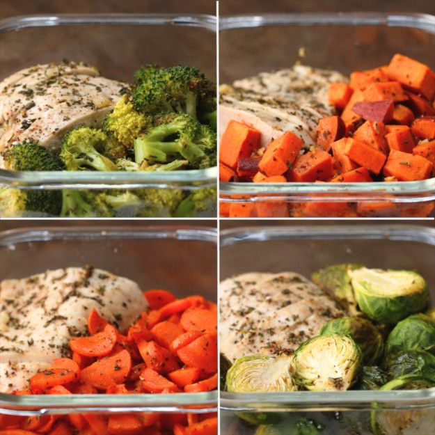 One-Pan Chicken And Veggie Meal Prep ½ sweet potato ½ poundBrussels sprouts 1 carrot ½ head of broccoli 1½ pound chicken breasts Olive oil, to taste 2 tablespoons fresh rosemary, chopped  2 tablespoons fresh thyme, chopped 4 cloves garlic, minced Salt, to taste Pepper, to taste Seal chicken in parchment paper to keep moist, 25-30 min at 425 Add to rice