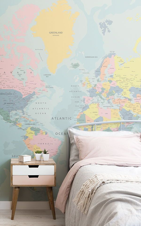 pastel world map wallpaper muralswallpaper in 2019 i wantget inspired by these sweet, pastel teen bedroom ideas and create a colourful space for your no longer so little one to rest and unwind