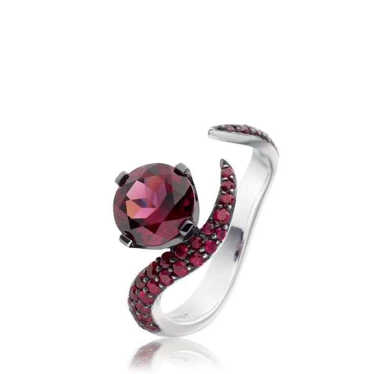 Shawn Leane's white gold with rhodalite and rubies ring.