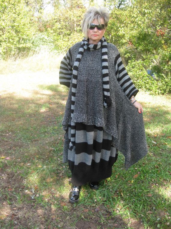 Handknitted Lagenlook Asymmetrical tunic with long sleeves