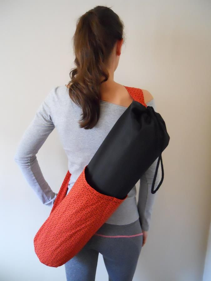 Shweshwe orange and black yoga bag
