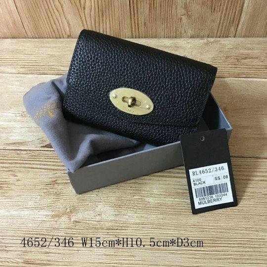 2017 Mulberry Medium Darley Wallet Black Natural Grain Leather