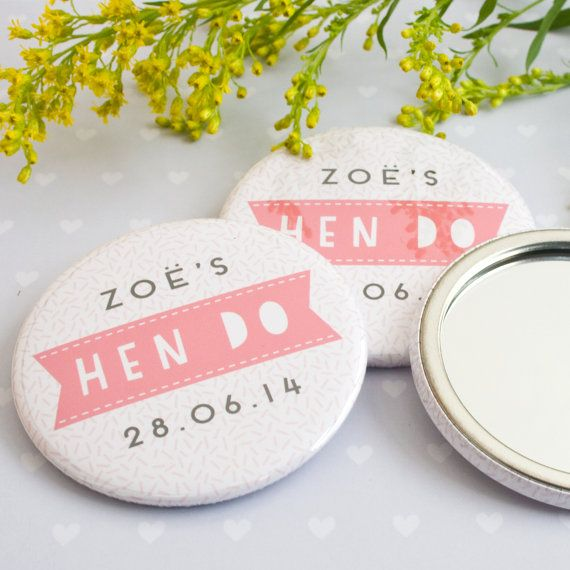 Personalised Hen Do Bachelorette Party Pocket Compact Mirrors: Sprinkles Design