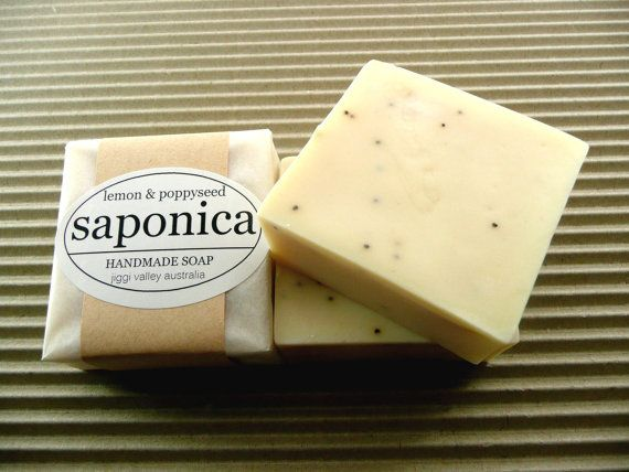 Handmade Natural Lemon and Poppyseed Soap by Saponica by saponica, $6.00