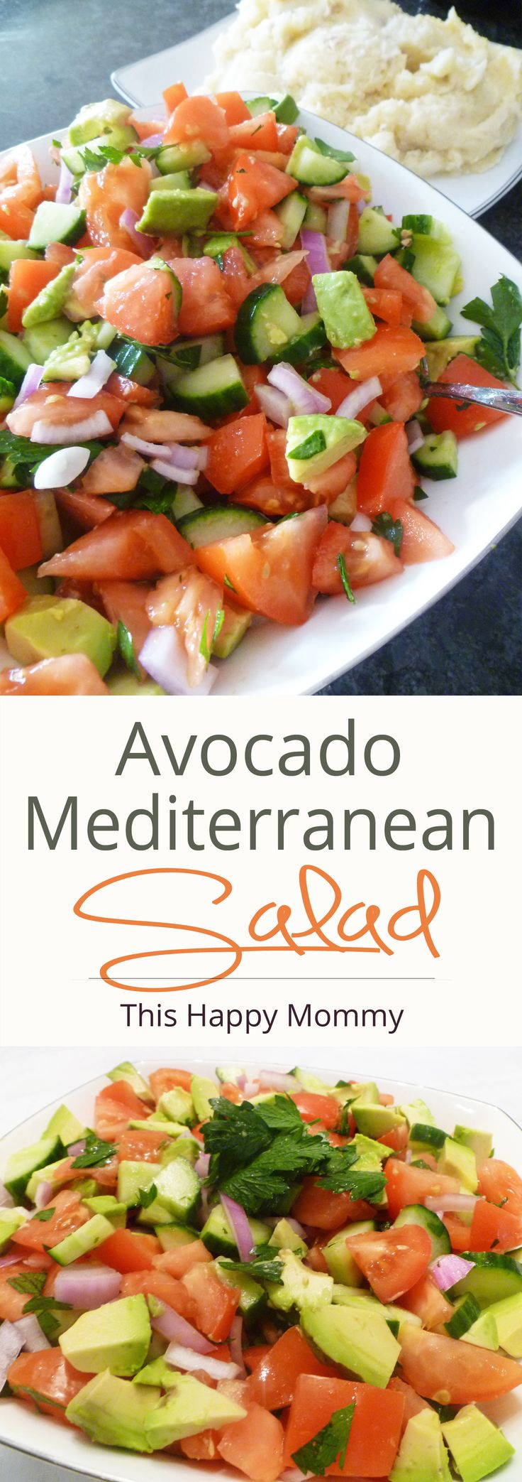 Tomatoes, cucumbers, onions and avocados with a zesty lemon mustard dressing.   thishappymommy.com