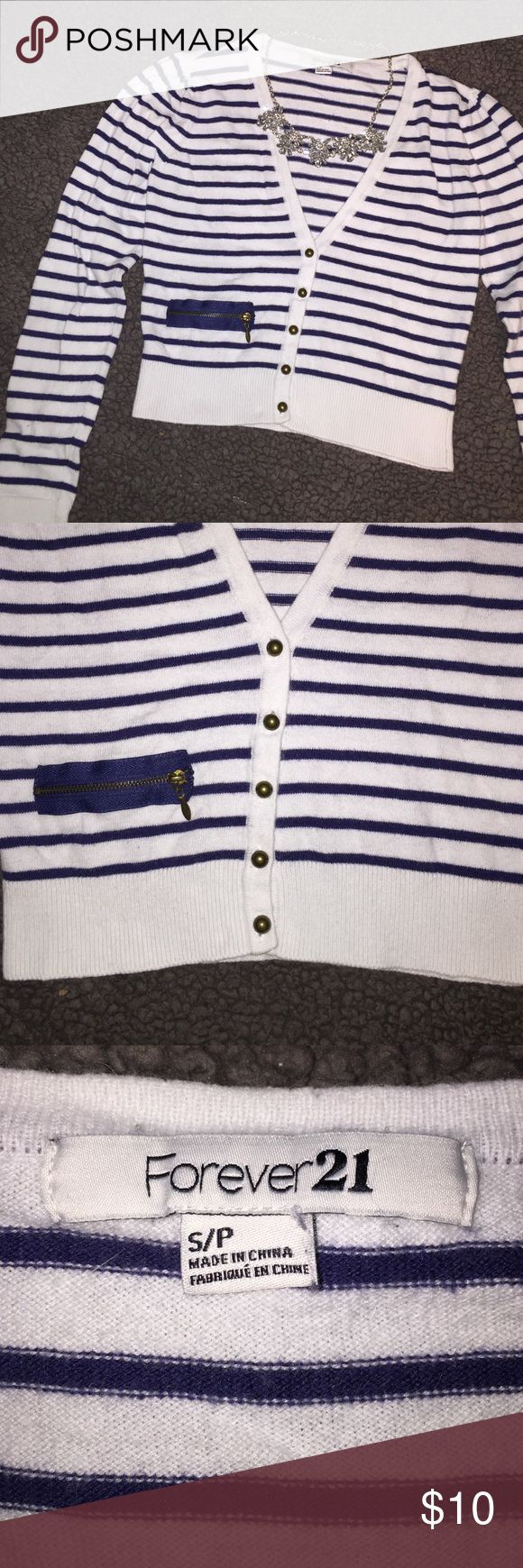 Nautical Cardigan V-neck short cardigan. Halfway length. Cute zipper detailing, but not a real pocket. Good condition! Forever 21 Sweaters Cardigans
