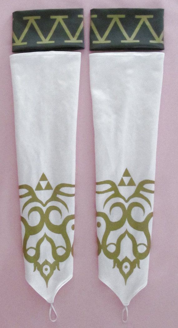 Legend of Zelda Twilight Princess Zelda White Gloves and Grey Gray Armbands Cuffs With Gold or Silver Emblem
