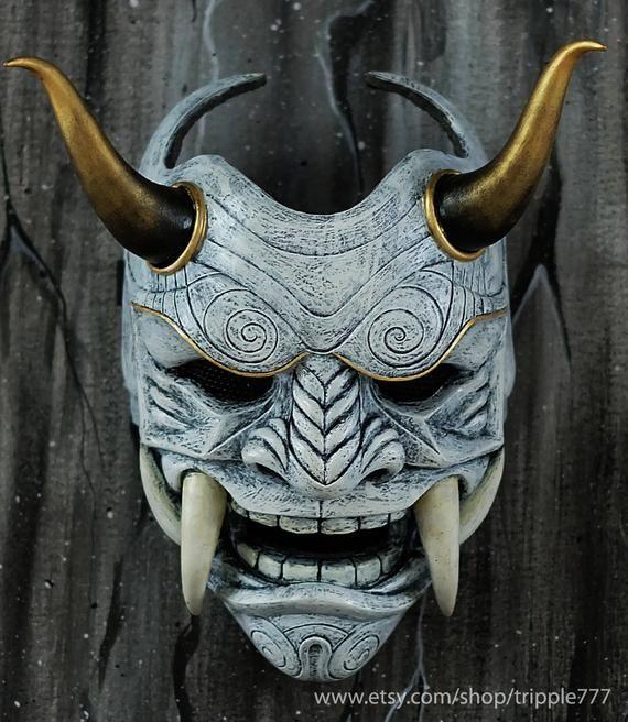 Adult Men/'s Japanese Samurai Oni Demon Devil Halloween Cosplay Costume Full Mask