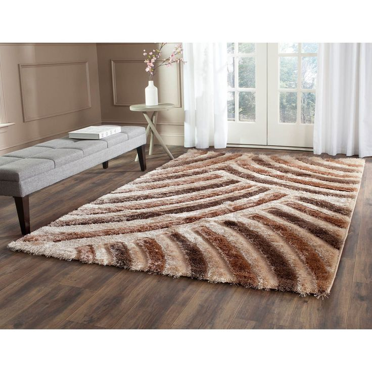 "Safavieh Miami Shag Contemporary Silken-Embossed Beige/ Brown Shag Rug (5'3 x 7'6), Size 5'3"" x 7'6"" (Olefin, Abstract)"